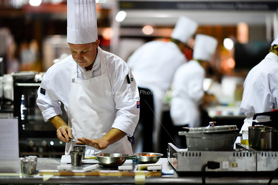 Melbourne, 30 May 2017 - Michael Cole of the Georgie Bass CafÈ & Cookery in Flinders in action at the Australian selection trials of the Bocuse d'Or culinary competition held during the Food Service Australia show at the Royal Exhibition Building in Melbourne, Australia. Photo Sydney Low