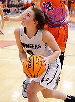 Westside Eagle Observer/RANDY MOLL<br /> Gentry senior Katie Ellis looks to shoot under the basket during play in Gentry on Feb. 4, 2020.