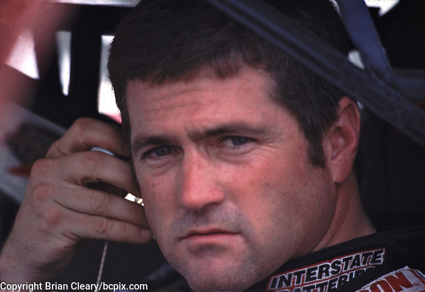 NASCAR Winston Cup points leader Bobby Labonte sits in his car at Darlington, SC on Friday 9/1/00 as he waits to qualify for the Pepsi Southern 500 stock car race. (Photo by Brian Cleary)  (Photo by Brian Cleary/www.bcpix.com)
