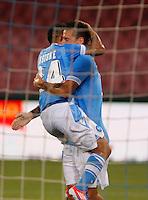 NAPOLI 29/07/2012 -ACQUA LETE CUP 2012 INCONTRO NAPOLI - BAYERN LEVERKUSEN.NELLA FOTO  ESULTANZA  LORENZO INSIGNE  MAREK HAMSIK.FOTO CIRO DE LUCA