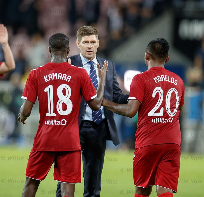 08.08.2019 FC Midtjylland v Rangers: Steven Gerrard with Glen Kamara and Alfredo Morelos