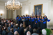 The Howard University Gospel Choir performs for United States President Barack Obama at the Easter Prayer Breakfast at the White House in Washington, D.C. on March 30, 2016. <br /> Credit: Kevin Dietsch / Pool via CNP