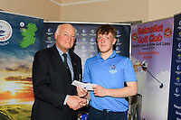 Jimmy Duggan (Hon Sec Connacht GUI) presents 3rd prize to Daniel Raher (Dungarvan) during the prize ceremony of the Connacht U18 Boys Open 2018 on Carne Golf Links at Belmullet Golf Club on Sunday 6th April 2018.<br /> Picture:  Thos Caffrey / www.golffile.ie<br /> <br /> All photo usage must carry mandatory copyright credit (&copy; Golffile | Thos Caffrey)