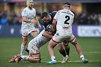 11th January 2020, Parc des Sports Marcel Michelin, Clermont-Ferrand, Auvergne-Rhône-Alpes, France; European Champions Cup Rugby Union, ASM Clermont versus Ulster;  Paul Jedrasiak (asm) tackled by Rob Herring (ulster)
