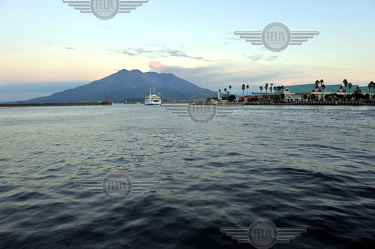 A ship sails from port towards the active Sakurajima Volcano that dominates the skyline of this, the southernmost, mainland Japanese city. /Felix Features