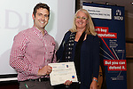 22/07/2015 GP Trainee Awards and Michael Lennard Reception 2015 hosted at The Holiday Inn, Filton, Bristol, by MDU. Dr Jim Burtonwood (Gloucestershire) receives the Learning and Development award from Dr Gaynor Whiter, Medicolegal Adviser, MDU.