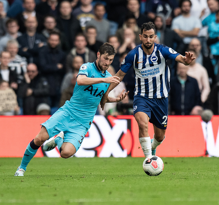 Brighton & Hove Albion's Martin Montoya (right) is tackled by Tottenham Hotspur's Ben Davies (left) <br /> <br /> Photographer David Horton/CameraSport<br /> <br /> The Premier League - Brighton and Hove Albion v Tottenham Hotspur - Saturday 5th October 2019 - The Amex Stadium - Brighton<br /> <br /> World Copyright © 2019 CameraSport. All rights reserved. 43 Linden Ave. Countesthorpe. Leicester. England. LE8 5PG - Tel: +44 (0) 116 277 4147 - admin@camerasport.com - www.camerasport.com