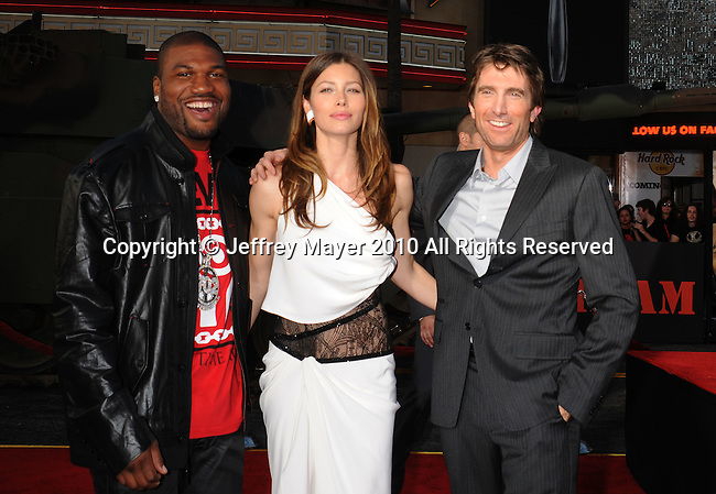 "HOLLYWOOD, CA. - June 03: Quinton ""Rampage"" Jackson, Jessica Biel and Sharlto Copley arrive at ""The A-Team"" Los Angeles premiere held at Grauman's Chinese Theatre on June 3, 2010 in Los Angeles, California."