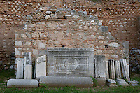 DELPHI, GREECE - APRIL 12 : A front view of a shop of the Roman Agora, on April 12, 2007 in the Sanctuary of Apollo, Delphi, Greece. The Roman Agora was built in the 4th century AD and is used as a storage of antiquities for the archaeological site. (Photo by Manuel Cohen)
