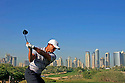 Woods Tiger (USA) in action on the 8th hole with the backdrop of the marina towers during the pro-am for the Dubai Desert Classic played on the Majilis Course held at the Emirates Golf Club on 30th January 2008...