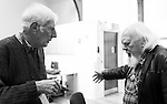 """King Lear"" rehearsed reading rehearsals. Old Vic Theatre. Director: Jonathan Miller. Jonathan Miller (L), Joss Ackland (R)."