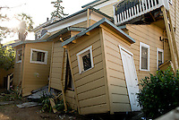 A damaged home after a 6.1 magnitude earthquake hit the San Francisco Bay Area at 3:20 am, in Napa, California, USA, 24 August 2014. More than 70 people were sent to hospital with injuries and power outages darkened multiple cities in northern California after a 6.1-magnitude earthquake struck early on 24 August. The United States Geological Survey (USGS) said the earthquake struck at 3:20 am (1020 GMT) at a depth of 10.8 kilometres. It was located nine kilometres south-west of the Napa wine region, and 81 kilometres north of San Francisco.