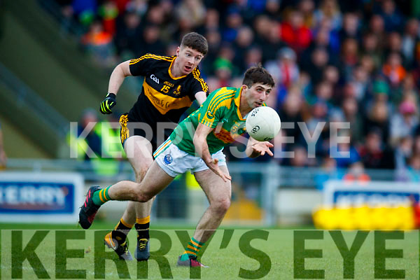 Kieran O'Leary Dr Crokes in action against Paul O'Sullivan South Kerry in the Senior County Football Final in Austin Stack Park on Sunday