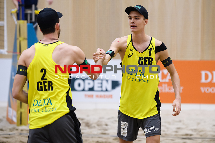 05.01.2019, Den Haag, Sportcampus Zuiderpark<br />Beachvolleyball, FIVB World Tour, 2019 DELA Beach Open<br /><br />Jubel Clemens Wickler (#2), Julius Thole (#1)<br /><br />  Foto &copy; nordphoto / Kurth