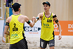 05.01.2019, Den Haag, Sportcampus Zuiderpark<br />Beachvolleyball, FIVB World Tour, 2019 DELA Beach Open<br /><br />Jubel Clemens Wickler (#2), Julius Thole (#1)<br /><br />  Foto © nordphoto / Kurth