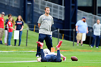 July 27, 2017: New England Patriots wide receiver Cody Hollister (81) lands on the ground after trying to make a catch at the New England Patriots training camp held on the practice field at Gillette Stadium, in Foxborough, Massachusetts. Eric Canha/CSM