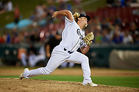 Kane County Cougars relief pitcher Breckin Williams (44) delivers a pitch during a game against the West Michigan Whitecaps on July 19, 2018 at Northwestern Medicine Field in Geneva, Illinois.  Kane County defeated West Michigan 8-5.  (Mike Janes/Four Seam Images)