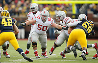 Ohio State Buckeyes offensive lineman Jacoby Boren (50) against Michigan Wolverines at Michigan Stadium in Arbor, Michigan on November 28, 2015.  (Dispatch photo by Kyle Robertson)