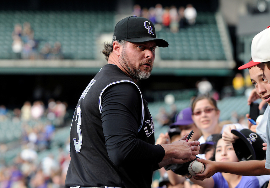 14 JULY 2011:  Colorado Rockies first baseman Jason Giambi (23) signs autographs for fans before a regular season game between the Milwaukee Brewers and the Colorado Rockies at Coors Field in Denver, Colorado. The Rockies beat the Brewers 12-3. *****For Editorial Use Only*****