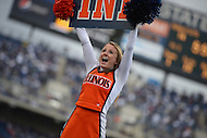 November 2, 2013  (State College, Pennsylvania) An Illinois Fighting Illini cheerleader cheers on fans at Beaver Stadium during a game against the Penn State Nittany Lions November 2, 2013. Penn State won in OT 24-17. (Photo by Don Baxter/Media Images International)
