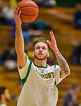 4 February 2014: University of Vermont Catamount Guard Candon Rusin, a Senior from Wilmington, VT, warms up prior to facing the University of Maine Black Bears at Patrick Gymnasium in Burlington, Vermont. The Cats defeated the Bears 93-65 improving to 9-1 in America East and 15-9 overall. Mandatory Credit: Ed Wolfstein Photo *** RAW (NEF) Image File Available ***