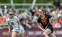 Newton, Massachusetts - May 13, 2018: NCAA Division I tournament. Boston College (white), defeated Princeton University (black), 16-10, at Newton Campus Lacrosse Field.