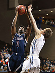 SIOUX FALLS, SD - MARCH 9:  Darwin Trotman #3 of St. Thomas shoots over Briar Cliff defender Jay Wolfe #5 at the 2018 NAIA DII Men's Basketball Championship at the Sanford Pentagon in Sioux Falls. (Photo by Dick Carlson/Inertia)