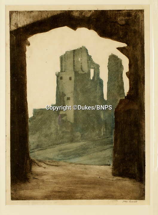 BNPS.co.uk (01202 558833)<br /> Pic: Dukes/BNPS<br /> <br /> 'Corvesgate Castle' - Corfe Castle in Dorset.<br /> <br /> Art work depicting real-life scenes from author Thomas Hardy's Wessex are being displayed for the first time in almost 100 years after they were found in the bottom of a trunk.<br /> <br /> The 37 pictures of locations immortalised in the Victorian writer's novels were created by artist John Everett.<br /> <br /> In 1924 the English painter travelled around 'Hardy Country' and produced small oil sketches for a book that was never published.<br /> <br /> The pictures were tossed into a chest and were recently found by art historian Gwen Yarker.