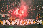 ***BETALBILD***  <br /> Stockholm 2015-09-27 Fotboll Allsvenskan Hammarby IF - AIK :  <br /> AIK:s supportrar med en bengal under matchen mellan Hammarby IF och AIK <br /> (Foto: Kenta J&ouml;nsson) Nyckelord:  Fotboll Allsvenskan Tele2 Arena Hammarby HIF Bajen AIK Derby supporter fans publik supporters bengaler bengal