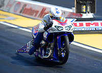 May 4, 2012; Commerce, GA, USA: NHRA pro stock motorcycle rider Hector Arana Jr during qualifying for the Southern Nationals at Atlanta Dragway. Mandatory Credit: Mark J. Rebilas-