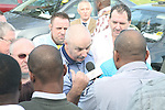 Dispute between local taxi drivers and non irish drivers working in the area...Photo: Jenny Matthews/www.newsfile.ie..