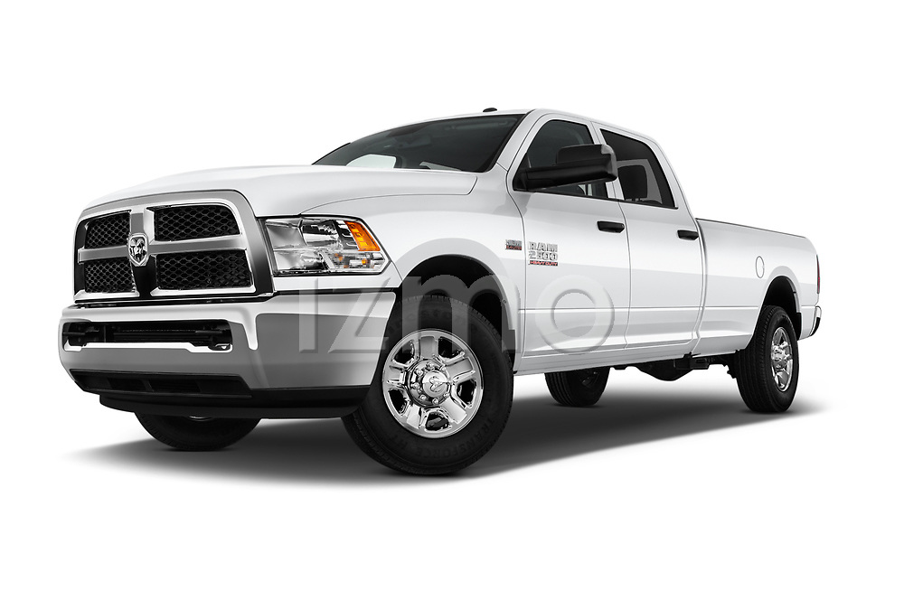 Stock pictures of low aggressive front three quarter view of a 2018 Ram Ram 2500 Pickup Tradesman 4wd Crew Cab LWB 4 Door Pick Up