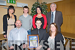 MERIT AWARD: Oisi?n O'Callaghan from Rathmore with his family after he was ;presented with the Lee Strand-Kerry Garda Youth Acheivement Merit Award on Friday night in Ballyroe Heights Hotel, Tralee. Front l-r: Eugene, Oisi?n and Niamh O'Callaghan. Back l-r: Christopher Pinkaon, mel O'Callaghan, Norma Ahern and Denis kerins............. . ............................... ..........
