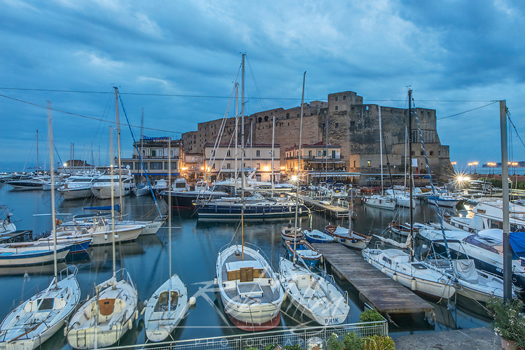Europe, Italy, Naples, Castel dell'Ovo Marina at Dawn