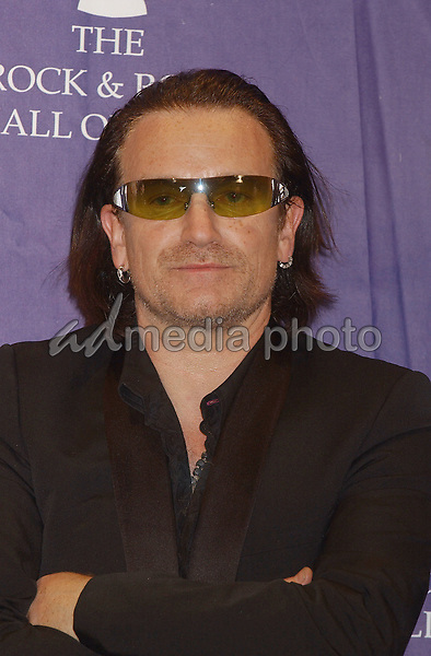14 March 2005 - New York, New York - Bono and 'U2'. 2005 Rock and Roll Hall of Fame Induction Ceremony held at the Waldorf Astoria. Photo Credit: Laura Farr/AdMedia