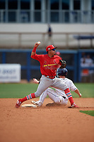 Palm Beach Cardinals second baseman Rayder Ascanio (3) throws to first base as Zacrey Law (6) slides in during a Florida State League game against the Charlotte Stone Crabs on April 14, 2019 at Charlotte Sports Park in Port Charlotte, Florida.  Palm Beach defeated Charlotte 5-3.  (Mike Janes/Four Seam Images)