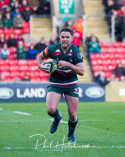 4th November 2017, Welford Road, Leicester, England; Anglo-Welsh Cup, Leicester Tigers versus Gloucester;  Joe Ford makes a break for Leicester Tigers