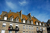 Facade of a grand old house inside the walled city, Saint-Malo, Brittany, France.