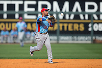 Tennessee Smokies third baseman Ryan Dent (30) makes a throw to first base against the Birmingham Barons at Regions Field on May 3, 2015 in Birmingham, Alabama.  The Smokies defeated the Barons 3-0.  (Brian Westerholt/Four Seam Images)