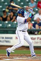 Round Rock Express outfielder Leonys Martin #27 at bat during the Pacific Coast League baseball game against the Las Vegas 51s on August 7th, 2012 at the Dell Diamond in Round Rock, Texas. The Express defeated the 51s 5-4. (Andrew Woolley/Four Seam Images).