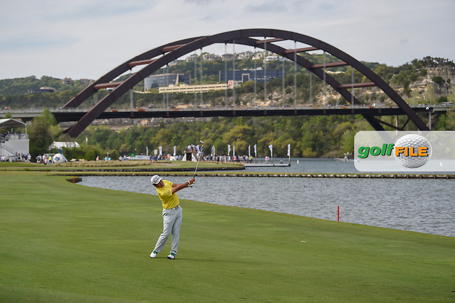 Hideki Matsuyama (JPN) hits his approach shot on 13 during day 2 of the WGC Dell Match Play, at the Austin Country Club, Austin, Texas, USA. 3/28/2019.<br /> Picture: Golffile | Ken Murray<br /> <br /> <br /> All photo usage must carry mandatory copyright credit (© Golffile | Ken Murray)