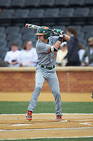 Jordan Lala (28) of the Miami Hurricanes at bat against the Wake Forest Demon Deacons at David F. Couch Ballpark on May 11, 2019 in  Winston-Salem, North Carolina. The Hurricanes defeated the Demon Deacons 8-4. (Brian Westerholt/Four Seam Images)