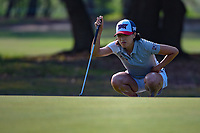 Celine Boutier (FRA) lines up her putt on 1 during round 1 of the 2019 US Women's Open, Charleston Country Club, Charleston, South Carolina,  USA. 5/30/2019.<br /> Picture: Golffile | Ken Murray<br /> <br /> All photo usage must carry mandatory copyright credit (© Golffile | Ken Murray)