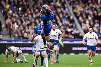 9th February 20020, Stade de France, Paris, France; 6-Nations international mens rugby union, France versus Italy;   Jayden Hayward  Italy collects the high ball