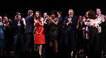 Megan McGinnis, Harriet Harris, Gavin Creel, Rob Ashford, Dick Scanlan, Jeanine Tesori, Sutton Foster, Sheryl Lee Ralph, Marc Kudisch during the curtain Call bows for the Actors Fund's 15th Anniversary Reunion Concert of 'Thoroughly Modern Millie' on February 18, 2018 at the Minskoff Theatre in New York City.
