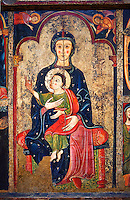 "The Romanesque Altar Front of Avia<br /> <br /> Around 1200, Tempera on wood with metalic ornamention from the church of Santa Maria d'Avia, Spain.<br /> <br /> National Art Museum of Catalonia, Barcelona. MNAC 15784<br /> <br /> <br /> The altar front of Byzantine art d'Avia depicting the Virgin Mary in the style of ""Our Lady of the Way"". The artistic style of the Altar front relies heavily of Byzantine influences. The intensity and variety of colors and the systematic application of appliqué are typical of eastern Mediterranean and Byzantine art . This can also be seen in the style and hand positions of the Virgin Mary and child, at the centre of the altar piece, which copies a style known as ""Our Lady of the Way"" which in turn minics the orthodox icon ""the Virgin Hodegetria""."