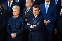 Le Président français Emmanuel Macron et Dalia Grybauskaitė Présidente de la République de Lituanie lors de la photo de famille au Sommet européen à Bruxelles.<br /> Belgique, Bruxelles, 22 mars 2019 <br /> Lithuanian President Dalia Grybauskaite, left, and French President Emmanuel Macron talk as they pose for a family photo during the European Union summit.<br /> Belgium, Brussels, 22 March 2019.