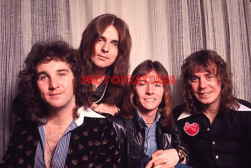Smokie 1976 Terry Utley, Pete Spencer, Chris Norman and Alan Stilson.© Chris Walter.