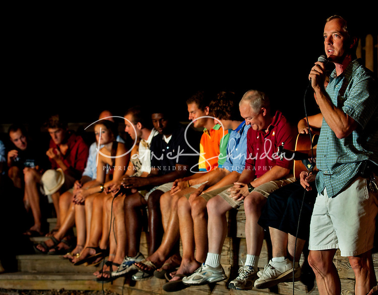 Counselors and staff at YMCA Camp Thunderbird perform on stage for campers during the closing ceremony event at the Charlotte-area YMCA camp. YMCA resident Camp Thunderbird, operating since 1936, is one of several YMCA camps located in the Carolinas. The 100-acre camp is located about 20 minutes from downtown Charlotte, North Carolina.