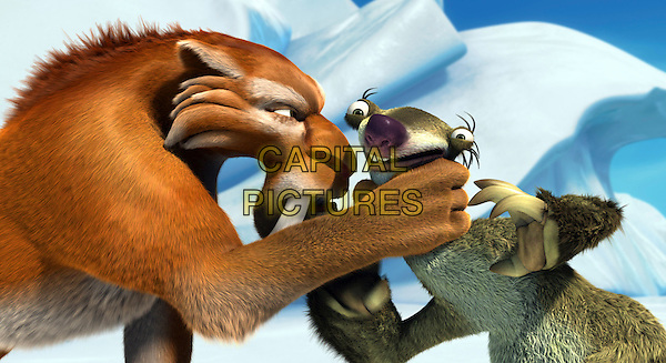 DIEGO (voiced by Denis Leary) & SID THE SLOTH (voiced by John Leguizamo).in Ice Age: The Meltdown.2.*Editorial Use Only*.www.capitalpictures.com.sales@capitalpictures.com.Supplied by Capital Pictures.